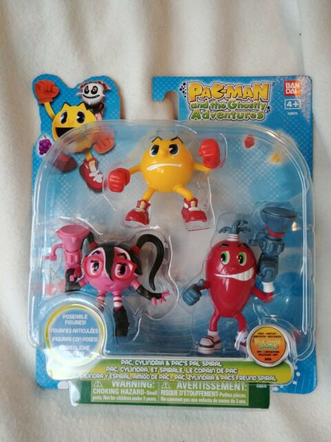 Pac-Man Ghostly Adventures 3-pack Figures Pac, Cylindria Spiral New Genuine