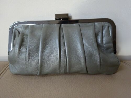 Designer BECKSONDERGAARD Leather Clutch Purse Small Bag Grey New with Tag
