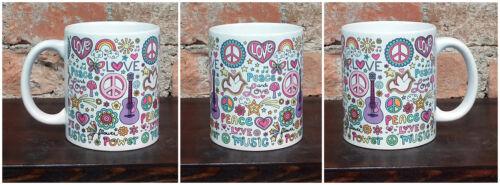 Tazza Mug ceramica bianca Peace and love flower power music musica  rock TZG015