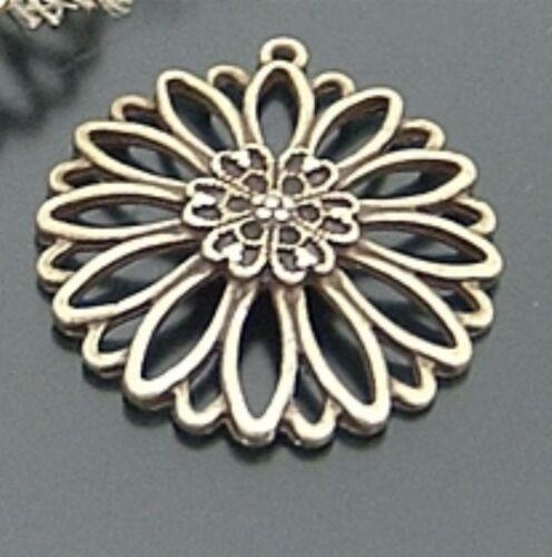 vtg look daisy flower necklace pendants 10pcs-20903