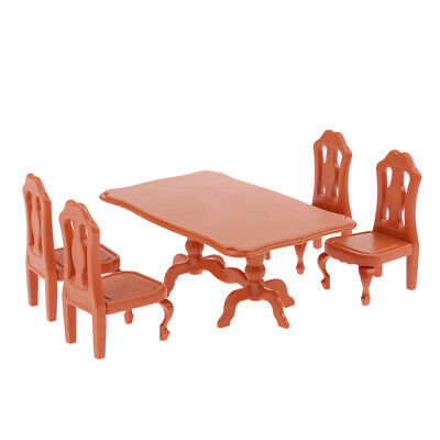 MagiDeal 1//12 Dollhouse Room Furniture Natural Wood Dining Table Chairs Set