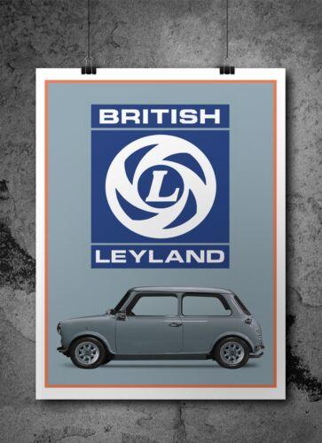 A3 A4 A5 British Leyland classic Mini Retro Poster// Print Artwork Car art