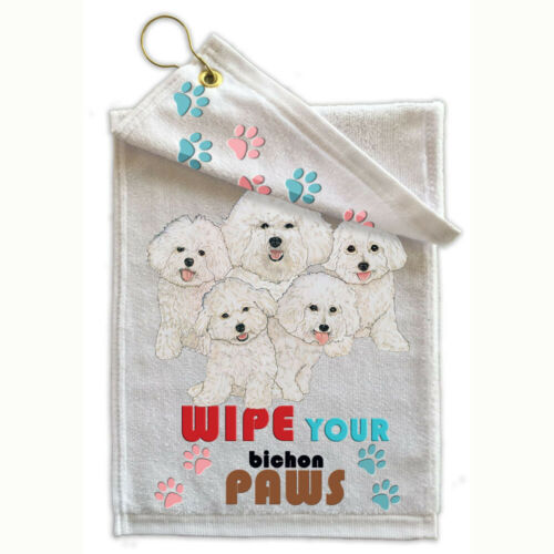 "Bichon Frise Paw-Wipe Towel 11/"" x 18/"" Grommet with Hook"
