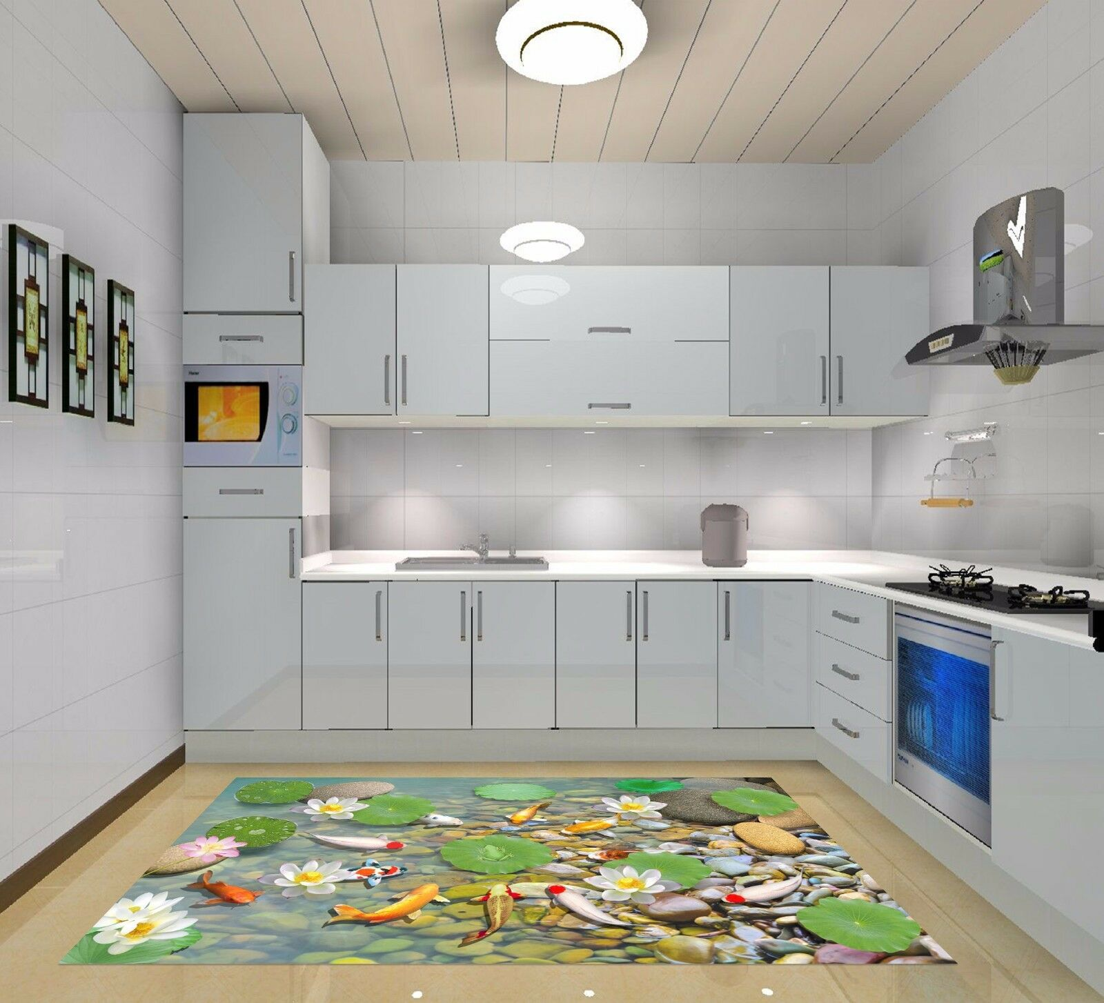 3D Pond Lotus Leaf 711 Kitchen Mat Floor Murals Wall Print Wall Deco UK Carly
