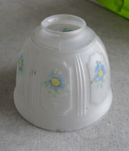 """Vintage 1930s Glass Lamp Shade Painted Flowers 6"""" Wide"""