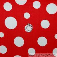 BonEful Fabric Cotton Quilt Red White VTG Mickey Mouse Polka Dot Disney US SCRAP