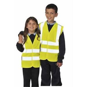 Junior-Kids-Hi-Vis-Viz-Visibility-Safety-Vest-Jacket-Waistcoat-All-Sizes