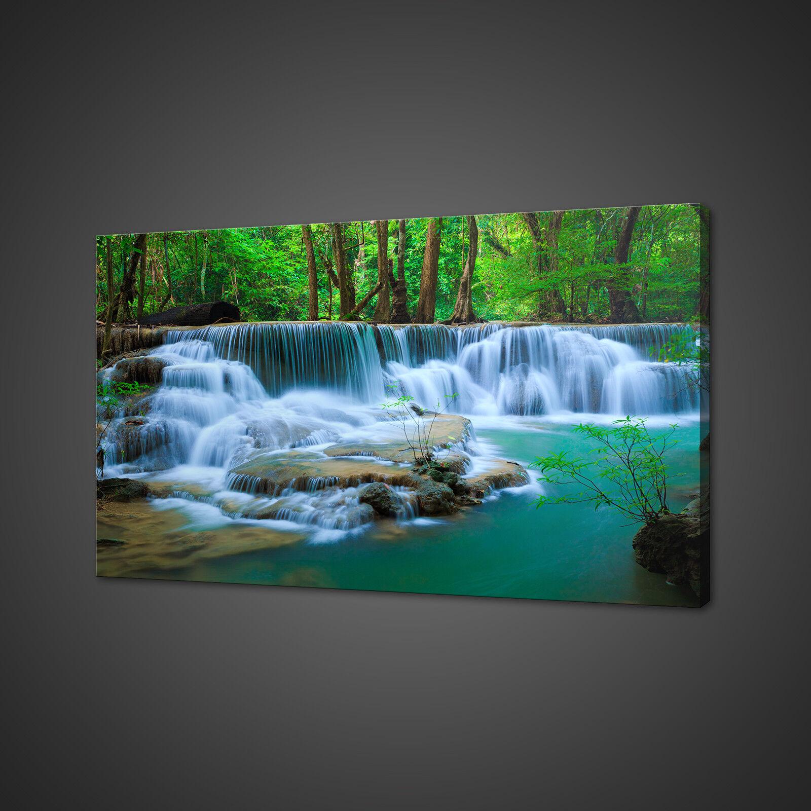 Deep WATER CASCATA Thailandia scatola di montaggio su tela stampa Wall Art Picture Foto