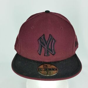 965be01dd17 NY Yankees Fitted 7 5 8 Maroon Crown Black Bill New Era Baseball ...