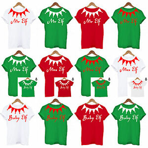 94c4c0376ebe4 Details about Personalised Family Elf Set Christmas, PJS Daddy Mummy Baby  Matching Set T Shirt