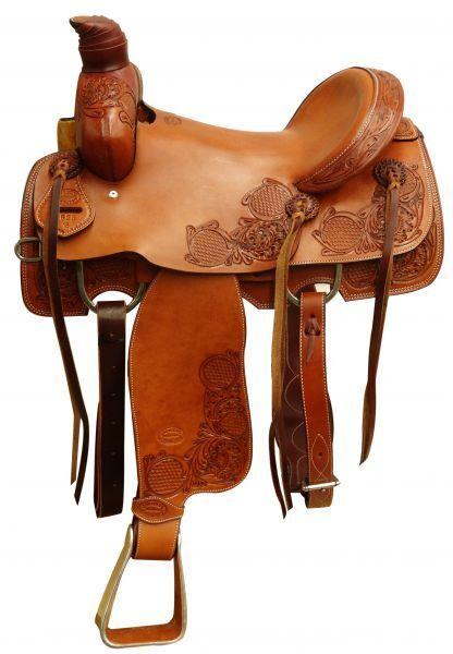 Showman ® silverina cow leather roper saddle.16    leisure
