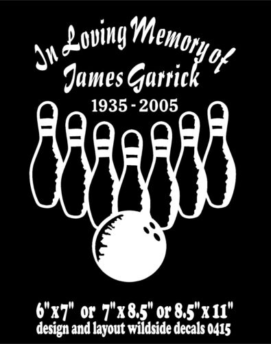 In Loving Memory Of Decal Bowler Bowling Car Window Vinyl Two Decals