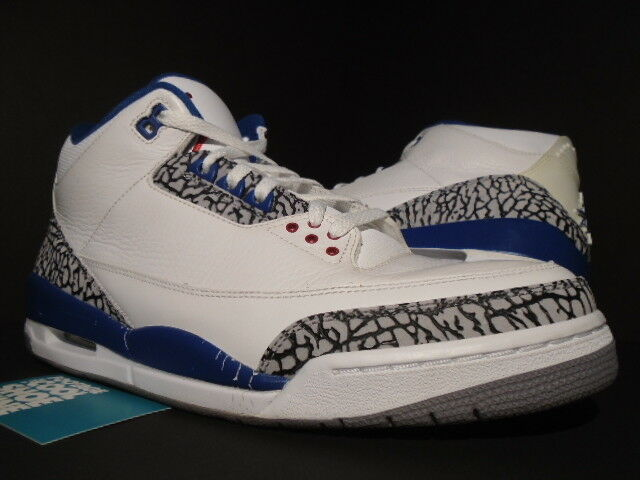 17cb899ee2a NIKE AIR JORDAN III 3 RETRO EUROPE OG blueE CEMENT RED 136064-141 12 TRUE  WHITE nxkqpo6070-Athletic Shoes