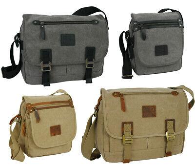 Colleg Tasche Aus Canvas Und Leder - Schultertasche In 2 Größen - Umhängetasche Lassen Sie Unsere Waren In Die Welt Gehen