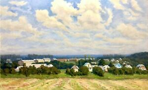 painting-art-socialist-realism-vintage-landscape-old-Sheludko-Village-Big-Huge