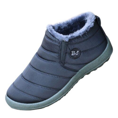 Fashion Men Ankle Snow Boots Winter Warm Fur Lined Slip On Flat Shoes Waterproof