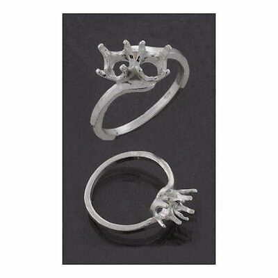 (4mm) Round (2) Stone Bypass Sterling Cast Ring Setting (Ring Sizes 5,6,7 , 8)