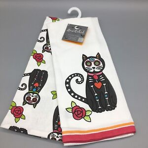Details About 2pc Halloween Kitchen Towel Set Sugar Skull Cat Skeleton Floral Day Of The Dead