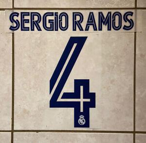 Flocage Nameset Sergio Ramos #4 Real Madrid 2020-2021 Domicile Extérieur.