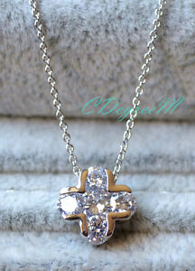 18K GP White /& Gold Plated Crystal Cross Twist Pendants Necklace