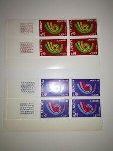 2-blocs-de-4-andorre-europa-cept-1973-cote-160-euros-xx-coin-de-feuille