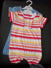 M&S Set of 2 100%Cotton S/Sleeve Romper Suits 9-12m 76cm Multi Stripe/Plain BNWT