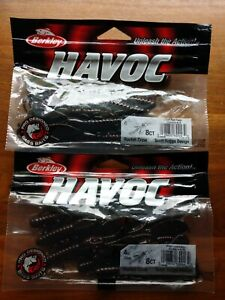 Lot-of-16-ct-Berkley-4-034-Havoc-Black-Red-Fleck-Rocket-Craws