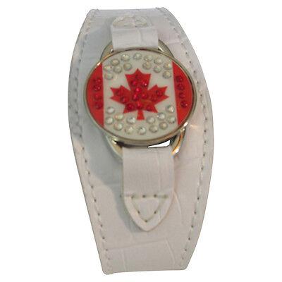 Rhinestone Magnetic Golf Ball Marker White Faux Leather Bracelet Canada Flag