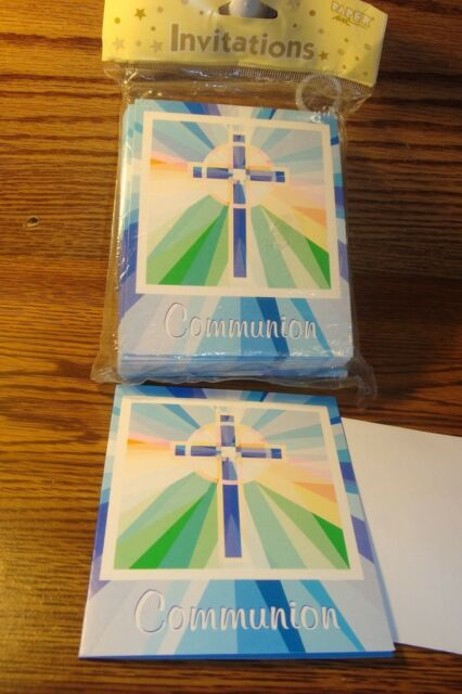 Paper Art #25 ct Communion Invitations / Stained Glass Design * BLUE   New