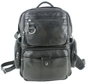 Men Black Genuine Leather Backpack Hiking Travel Rucksack School Bag Bookbag 02c0c2422ae32