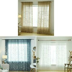 Embroidery-Leaves-Tulle-Curtains-Home-Window-Screening-Voile-Sheer-Curtain-K1B