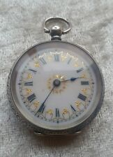 Victorian 19th Century Continental Silver Fob Pocket Watch Foliate Engraved Case