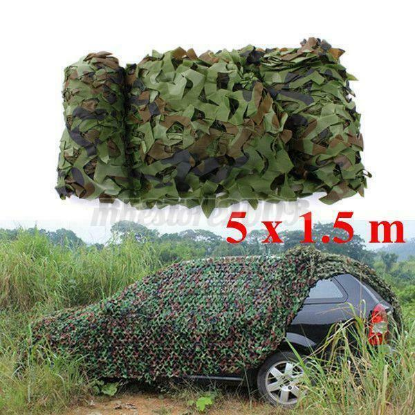 16ft x 5ft Woodland Leaves Military Camouflage Net Hunting Camo Camping Netting