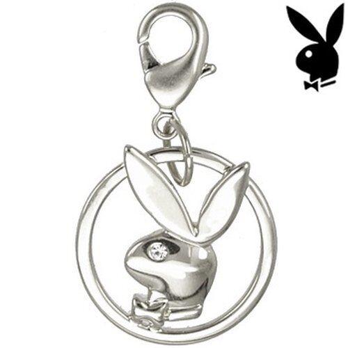Playboy Bunny Charm Silver Crystal Gem CZ Bracelet Necklace Pendant Lobster Clip