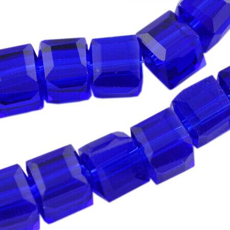 25 Perles de Verre Cube 4 mm COBALT BLEU TCHÈQUE CRISTAL Perles Bijoux x274
