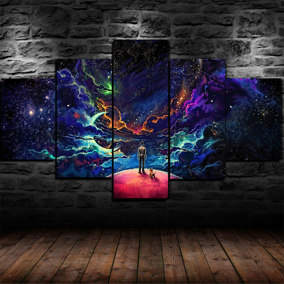Framed Luminous Space Journey Stars Galaxy 5 Piece Canvas Print Wall Art Decor