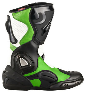 Neu-hochwertige-XLS-Motorradstiefel-Racing-Boots-schwarz-gruen-weiss-Gr-40-47