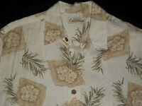 Caribbean Beige Floral Hawaiian Button Aloha Shirt Size Medium Med M Rayon