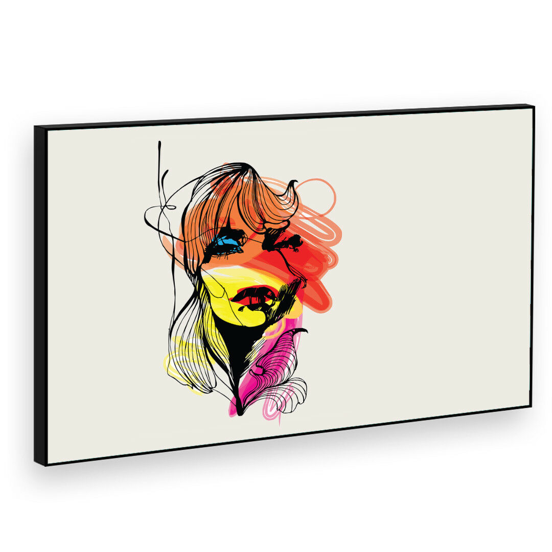 BF2AB256P Woman rot Gelb Cool Modern Abstract Framed Wall Art Picture Prints