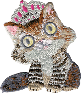 89111 Cat in Tiara Crown Princess Kitty Kitten Eyes Embroidered Iron On Patch