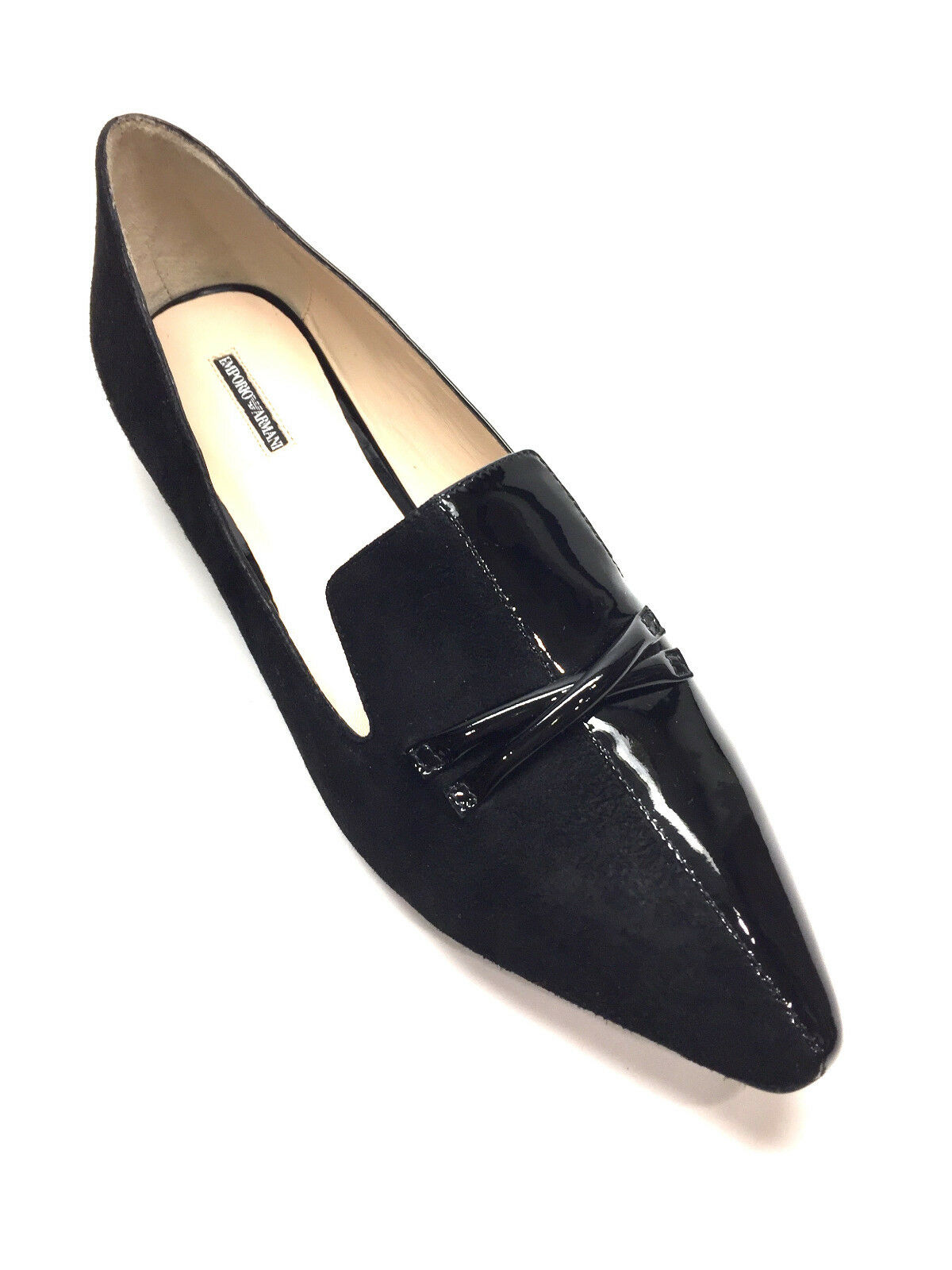New EMPORIO ARMANI Nero Loafer Suede/Patent Leather Pointed-Toe Tuxedo Loafer Nero Flats 40 955274