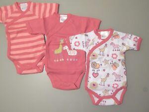 2d34c0342ffb0 Details zu 3 Stück Wickelbody Kurzarm Baby Body Rosa 100% Baumwolle Gr  50/56 62/68 74/80