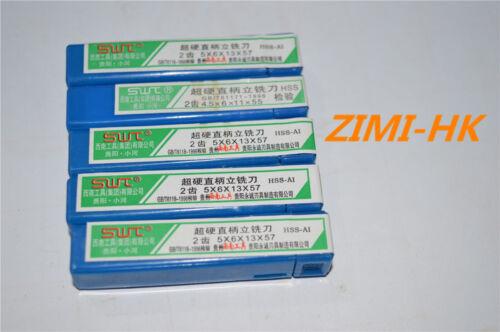 5pcs  5mm 2Flute HSS /& Aluminium End Mill Cutter CNC ( 5×6×13×57mm×2F ) SWT