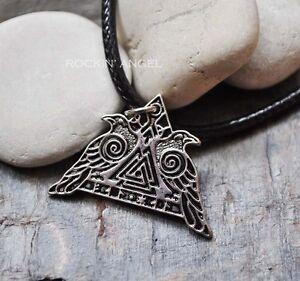 Antique-Silver-Plt-Odin-039-s-Ravens-Hugin-amp-Munin-Pendant-Necklace-Viking-Norse