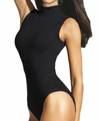 Mesdames col roulé body sans manches femme LEOTARDS top taille uk 8-16