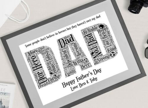 Father's Day Gift Personalised DAD Word Art Print