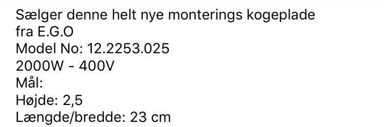 Kogeplade, andet mærke 12.22453.025 - Original EGO, b: 23