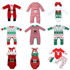 Newborn-Baby-Boy-Girl-Romper-Christmas-Costume-Clothes-Bodysuit-Outfit-LOT