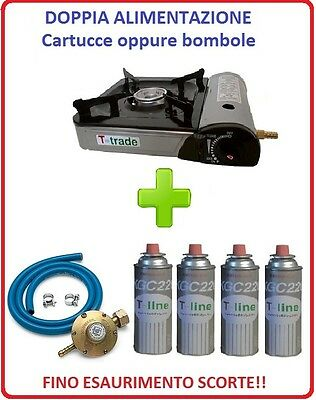 Amichevole Fornello Portatile Con Doppia Alimentazione + 4 Cartucce A Gas + Kit Regolatore