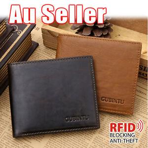 Genuine Leather Mens Purse Bifold Credit Card Wallet RFID Blocking Anti Scan OZ